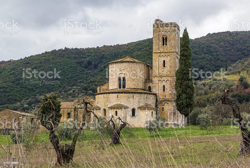 Abbey of Sant Antimo, Italy stock photo