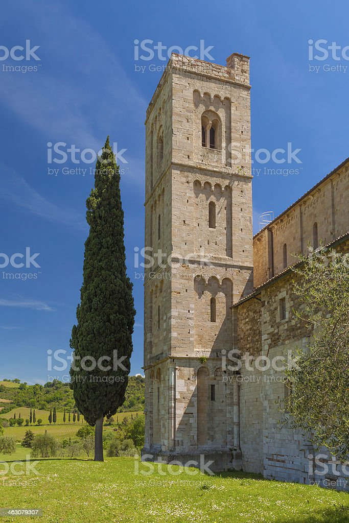 Abbey of Sant'Antimo in Tuscany, Italy royalty-free stock photo
