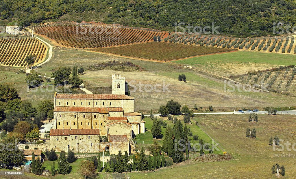 Abbey of Sant'Antimo in Tuscany royalty-free stock photo