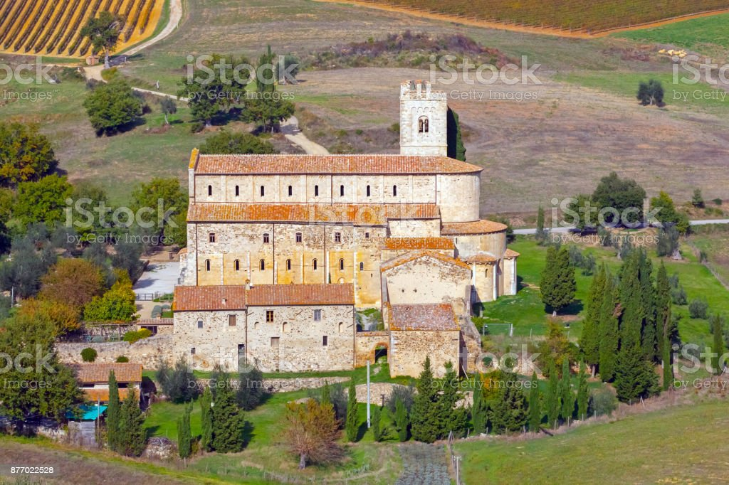 Abbey of Sant'Antimo in Tuscany stock photo