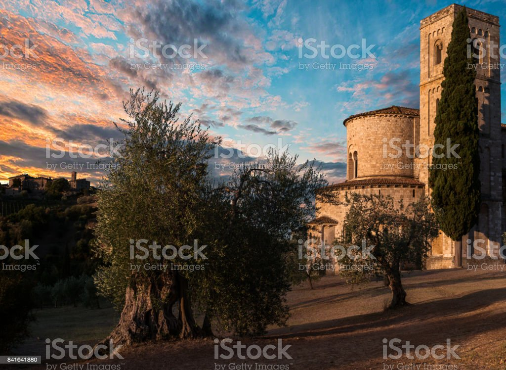 Abbey of Sant'Antimo stock photo