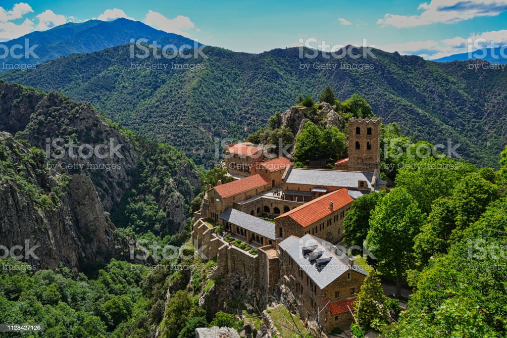 Abbey of St Martin-du-Canigou stock photo