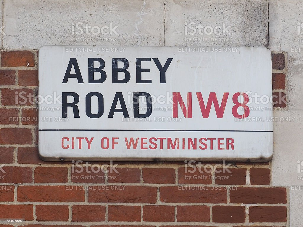 Abbey Road sign in London stock photo