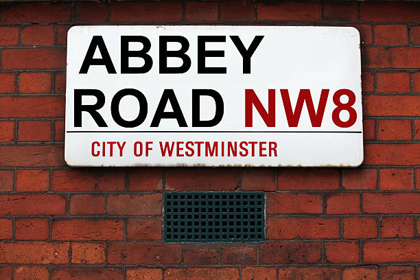 LONDON,  Abbey Road sign stock photo