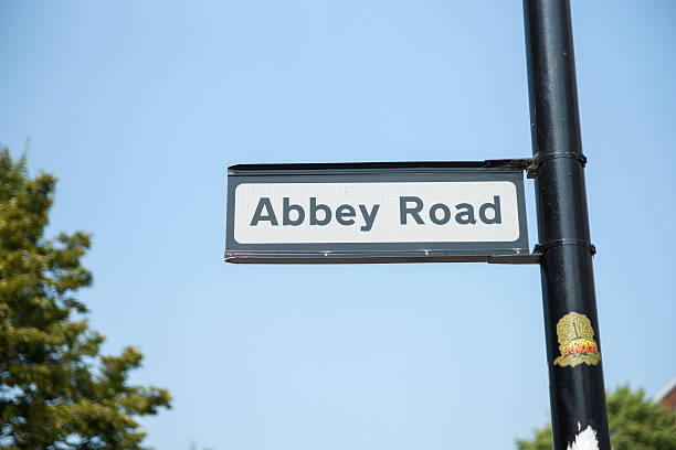 Abbey Road street sign stock photo