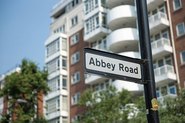 Abbey Road street signn stock photo