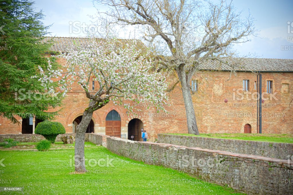 Abbey ruins of San Galgano, Chiusdino, Siena, known for having roof missing. stock photo