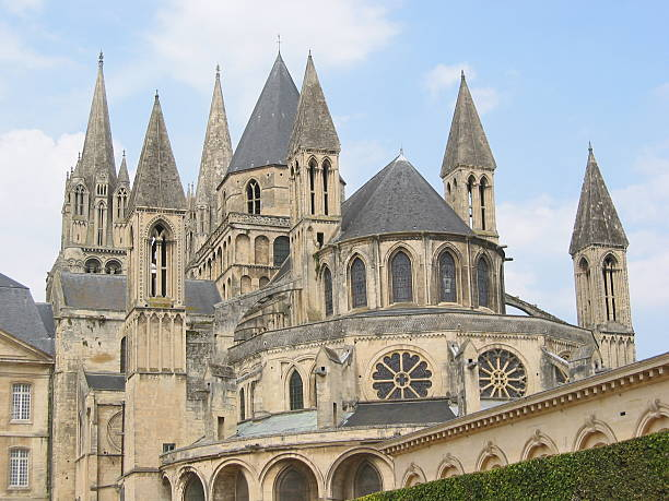 abbey aux hommes - caen stock pictures, royalty-free photos & images