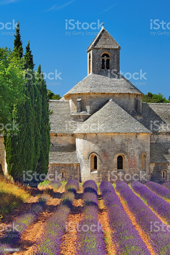 Abbey with blooming lavender field royalty-free stock photo