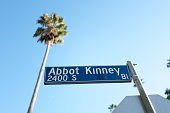Los Angeles, California, United States - October 21, 2018:  Low-angle view of sign for Abbot Kinney Blvd, an iconic street in the Marina Del Rey neighborhood of Los Angeles, California, with distinctive palm trees visible above, October 21, 2018