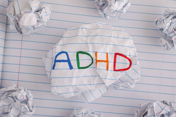 ADHD. Abbreviation ADHD on crumpled paper ball stock photo
