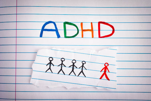 ADHD. Abbreviation ADHD on notebook sheet stock photo