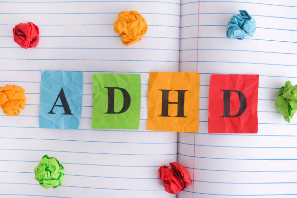 Abbreviation ADHD on notebook sheet with some colorful crumpled paper balls around it stock photo