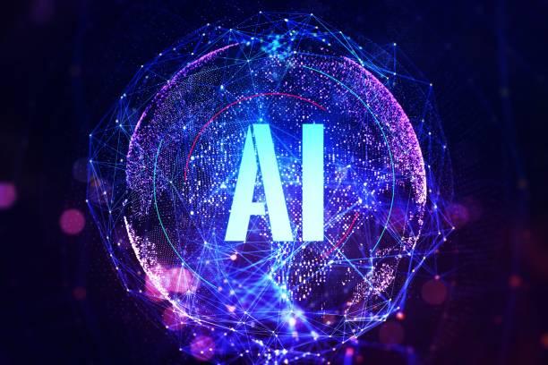 la abreviatura es inteligencia artificial en un fondo de globo digital. concepto de aprendizaje automático. renderizado 3d - inteligencia artificial fotografías e imágenes de stock