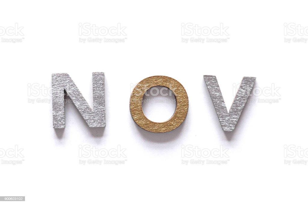 NOV - abbreviation of the month November stock photo