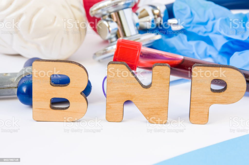BNP abbreviation or acronym in foreground in laboratory scientific or medical practice meaning brain natriuretic peptide, with model of brain, neurological hammer laboratory test tubes stock photo