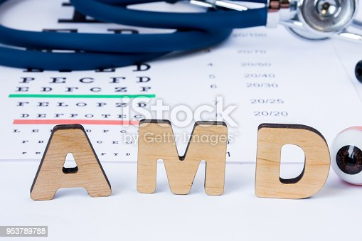 istock AMD Abbreviation or acronym of age-related macular degeneration - eye problem in older persons. Word AMD is on foreground near eye model with stethoscope and visual acuity test on blurry background 953789788