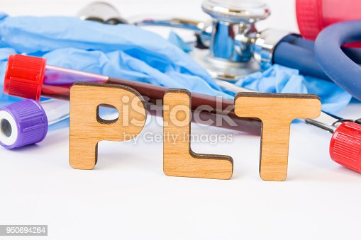 istock Abbreviation or acronym of PLT, in laboratory, scientific, research or medical practice means platelet count, is in foreground with laboratory test tubes, medical stethoscope and gloves on background 950694264