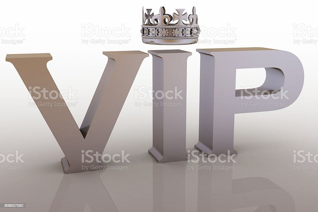 VIP abbreviation with a crown stock photo