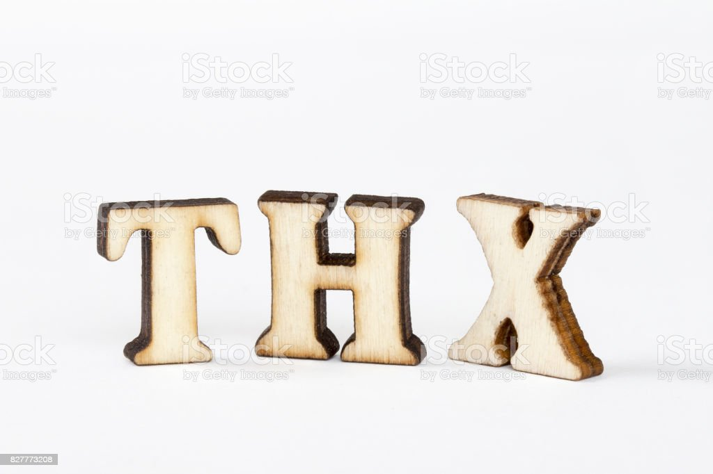 Abbreviations Thx Wooden Alphabet Object Of Thanks Stock Photo