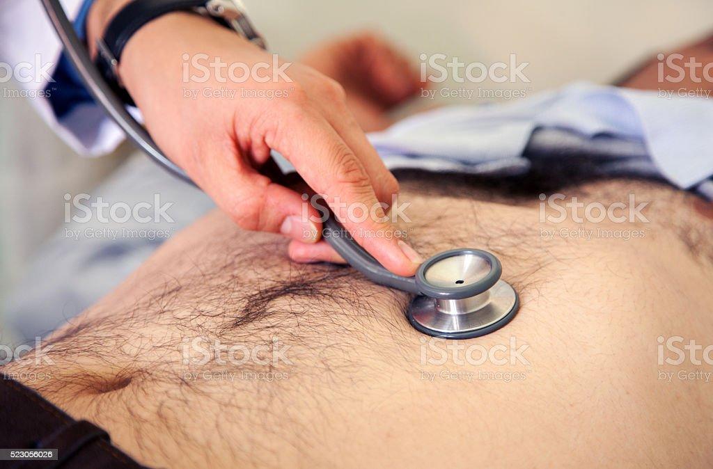 Abdomen Stethoscope Examination Medical Abdomen Stethoscope Examination Adult Stock Photo