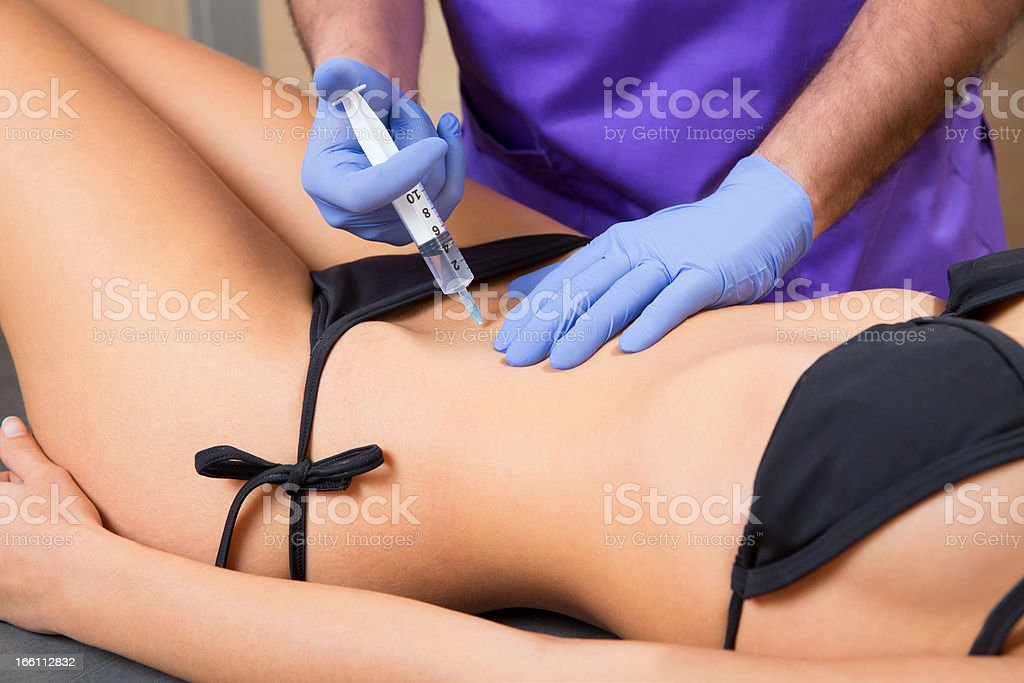 abdominal mesotherapy therapy doctor tol woman stock photo