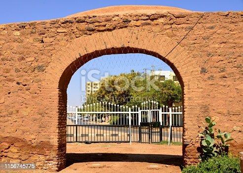 Almorada (Omdurman), Kahrtoum, Sudan: the Abdel Ghayum / Abdul Gayoom gate (Bwabt Abdul Gayoom) is one of the few remains left of the 19th century city walls, built around the Khalifa's Mulazimin Quarter