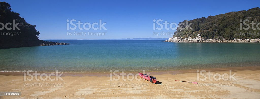 Abel Tasman, Kayak on a Beach royalty-free stock photo