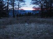 Bäume im Vordergrund dazu eine winterliche kalte Stimmung mit letztem roten Schein der Sonne.