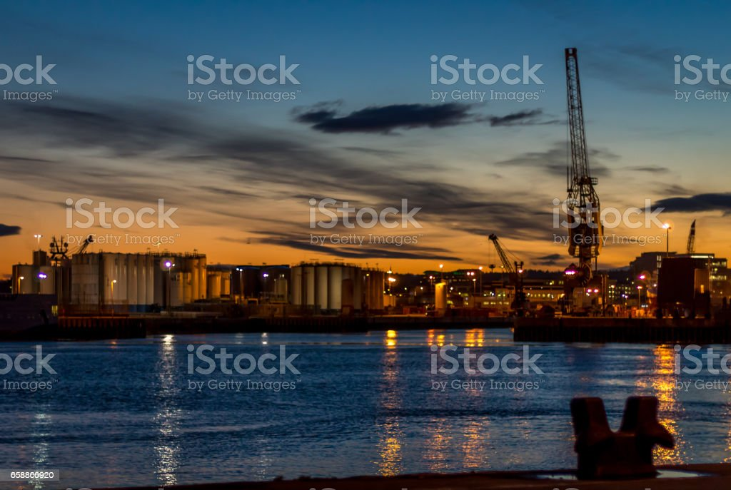 Aberdeen Harbour at Sunset stock photo
