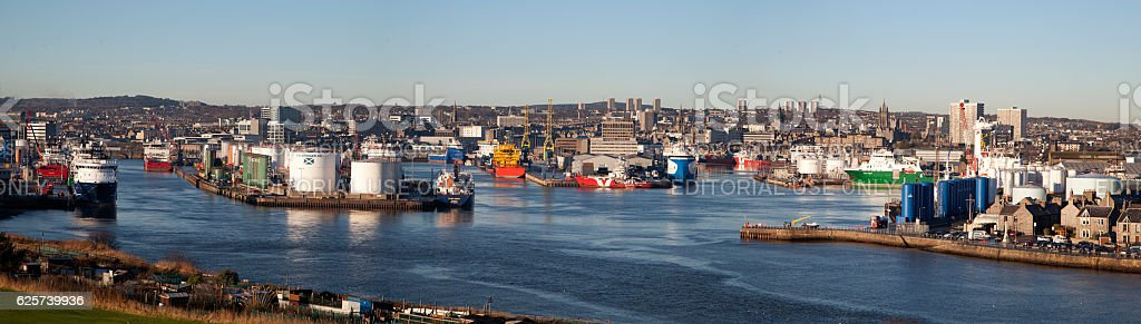 Aberdeen Harbour Panorama stock photo