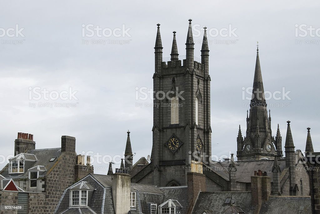 Aberdeen rooftops royalty-free stock photo