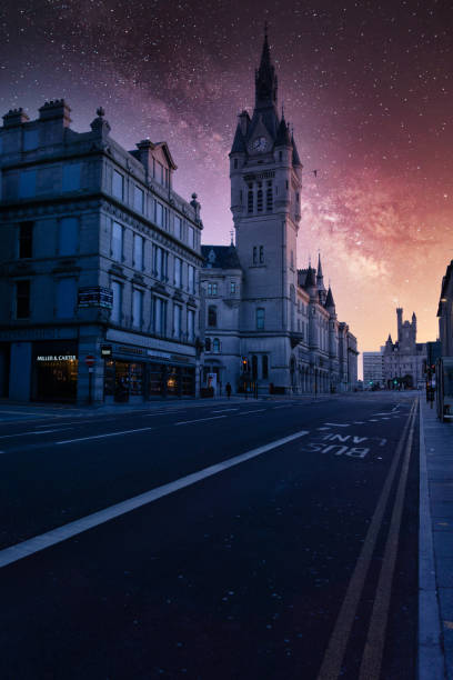 Aberdeen, Scotland at night under the Milky Way stock photo