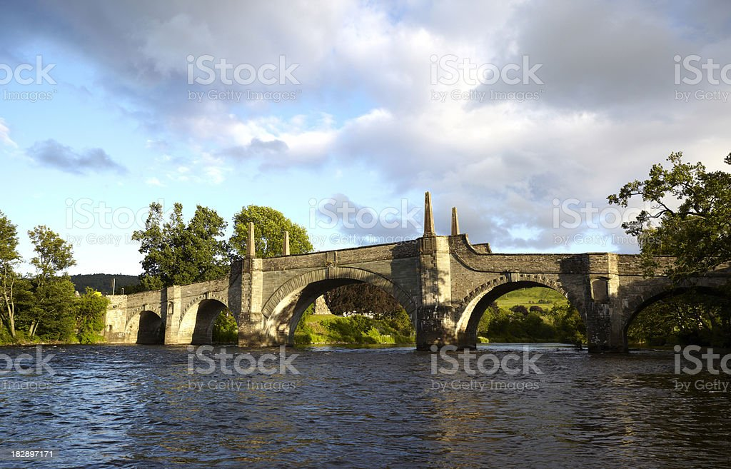 Aberfeldy Bridge and the River Tay, Perthshire stock photo