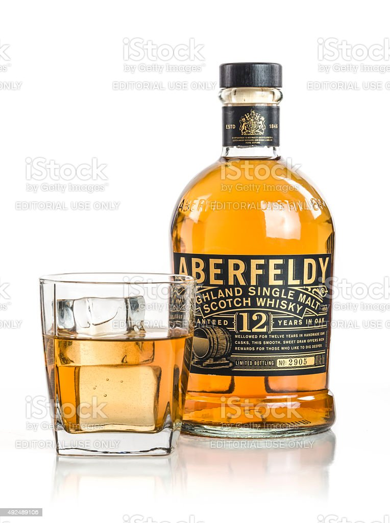 Aberfeldy Glass and Bottle stock photo