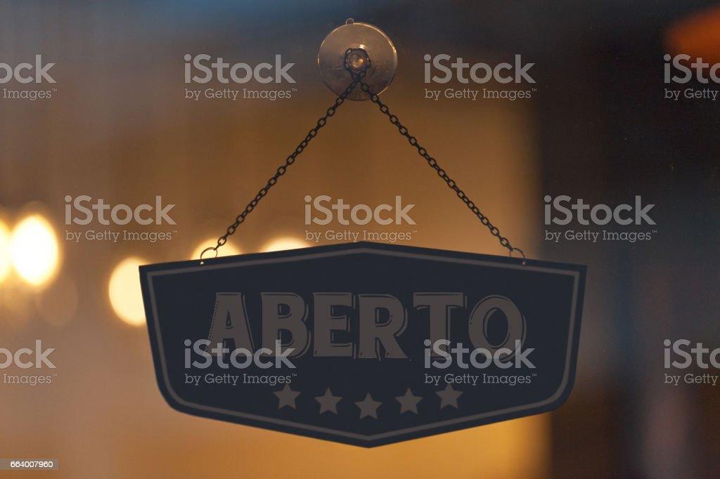 Aberto - Open sign stock photo