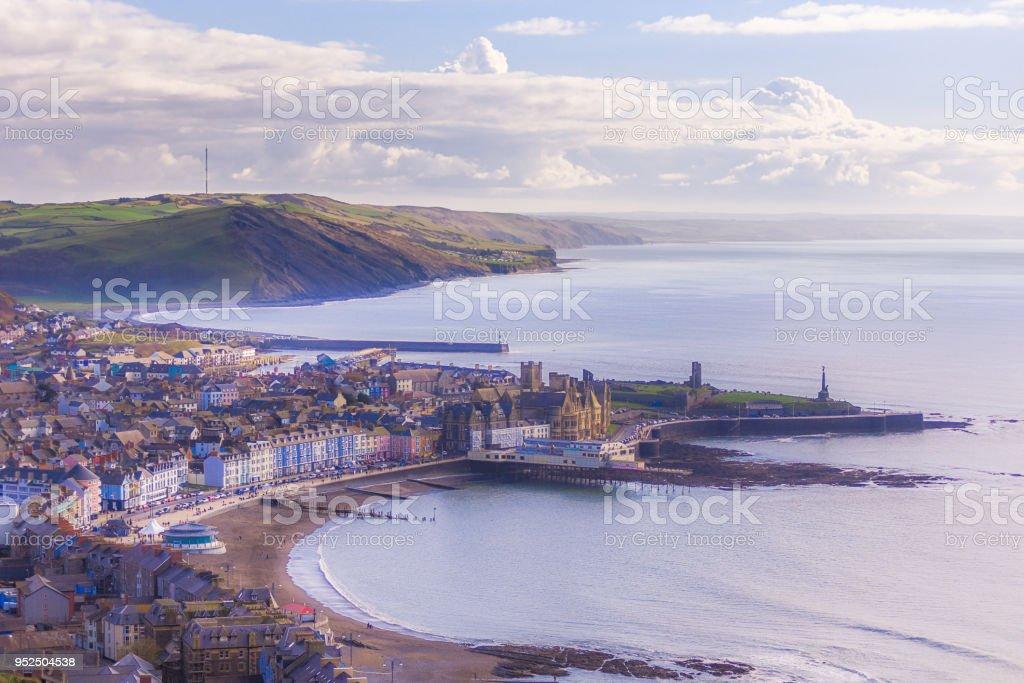 Aberystwyth city top view stock photo