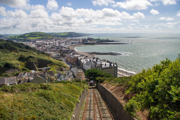 Aberystwyth View of the town from Constitution hill welsh culture stock pictures, royalty-free photos & images