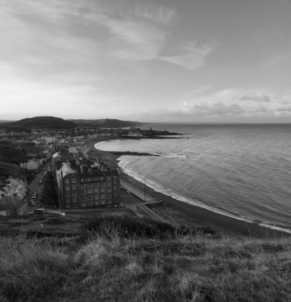 Aberystwyth promenade from Constitution Hill, Cardigan Bay, Ceredigion, Wales stock photo