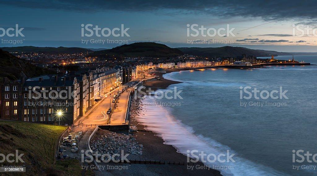Aberystwyth Promenade, on the west coast of Wales stock photo