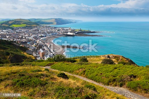 Aerial view from Constitution Hill over Aberystwyth, the sea and Welsh Coast.