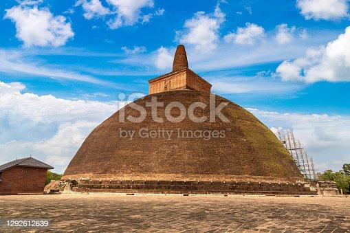 Abhayagiri stupa in Sri Lanka in a summer day