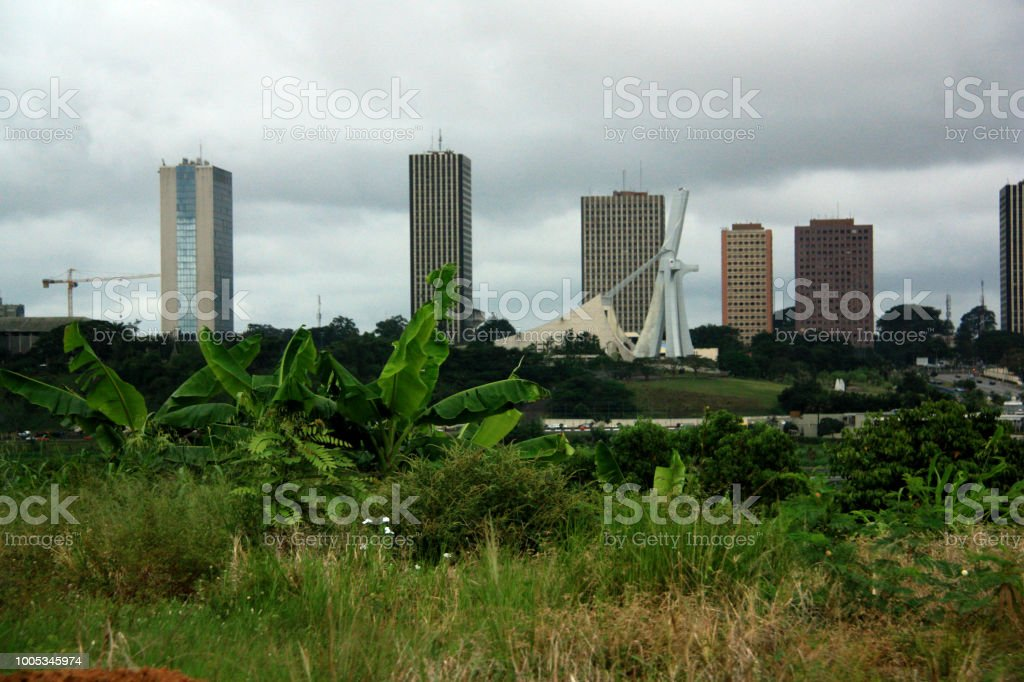 Abidjan's City Center and St. Paul's Cathedral stock photo