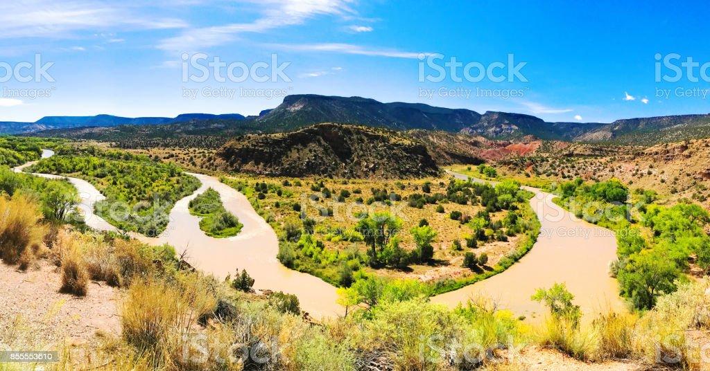 Abiquiu, NM: Overlooking Rio Chama in Autumn stock photo