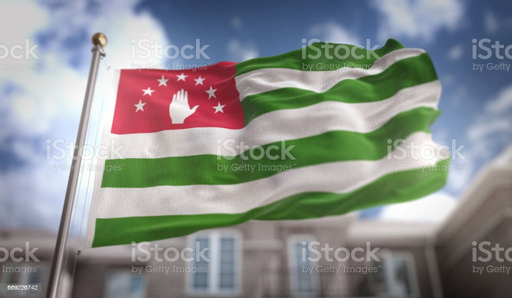 Abkhazia Flag 3D Rendering on Blue Sky Building Background stock photo