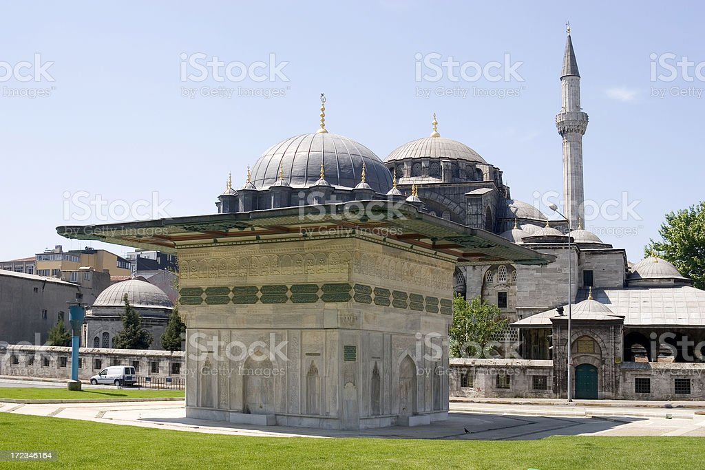 Ablution fountain outside mosque stock photo
