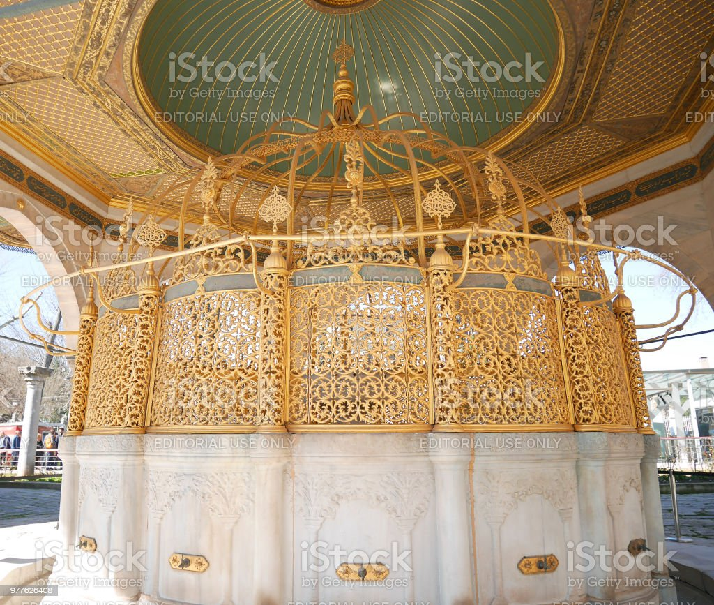 Ablution taps at Blue Mosque (Sultan Ahmed Mosque) where worshipers wash hands, mouth, nostrils, arms, head and feet with water (Wudu) before enter Islamic Mosque stock photo