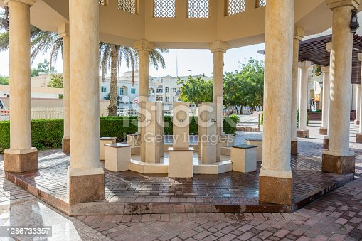 Ablution taps of Wudu pavilion at Jumeirah Mosque, the only mosque in Dubai which is open to the public and dedicated to receiving non-Muslim guests.