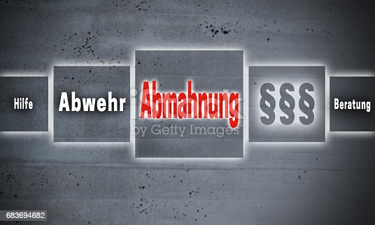 istock Abmahnung (in german Admonition, defense, help, advice) touchscreen concept background 683694682