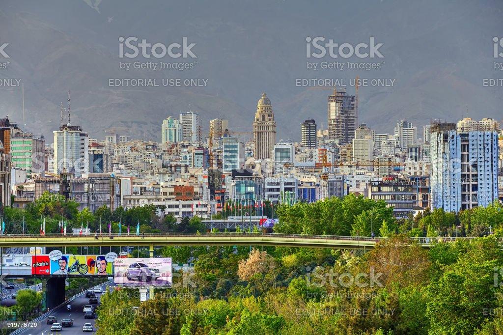 Abo Atash bridge and north Tehran, skyline view, Iran. stock photo
